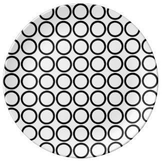 Bold Black Rings on White Porcelain Plate