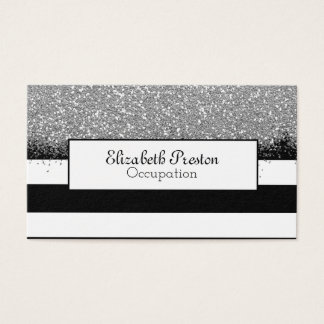 Bold Black Stripes Faux Silver Glitter Business Card