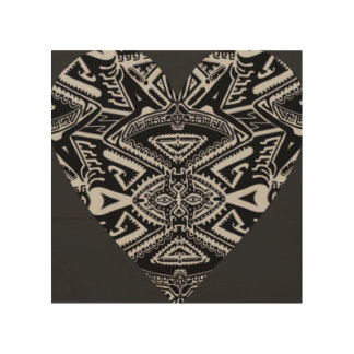 Bold black tribal heart art on wood