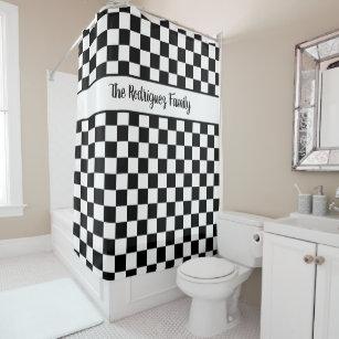 Bold Black White Checkered Pattern Custom Name Shower Curtain