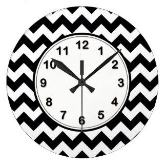 Bold Black & White Chevron Zig Zag Pattern Wallclocks