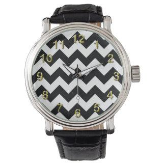 Bold Black & White Chevron Zig Zag Pattern Watch