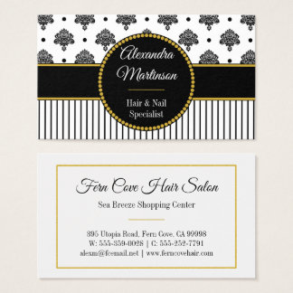 Bold Black White Damask Dots Stripes Gold Monogram Business Card