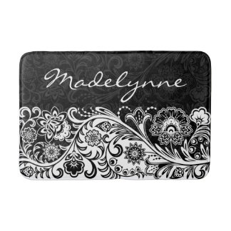 Bold Black White Floral Design Bath Mat