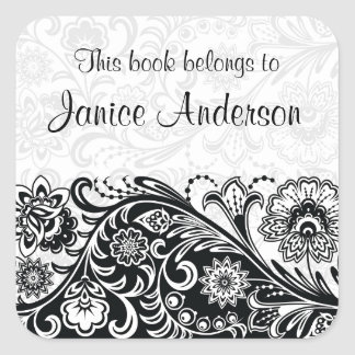 Bold Black White Floral Design Bookplate Sticker