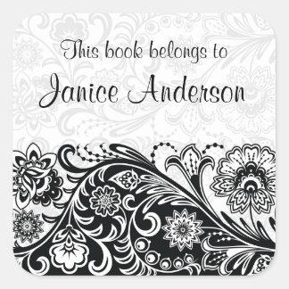 Bold Black White Floral Design Bookplate Sticker Square Sticker