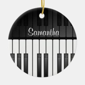 Bold Black White Keyboard Design Ornament