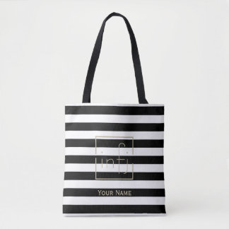 Bold Black & White Stripe Your Name Gold MBTI Tote Bag