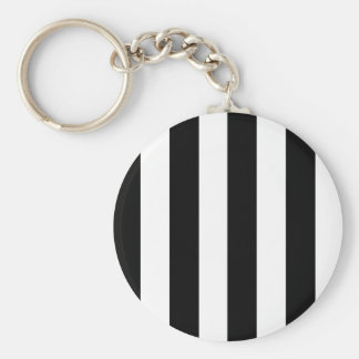 Bold Black & White Stripes Key Ring