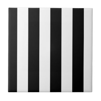 Bold Black & White Stripes Small Square Tile