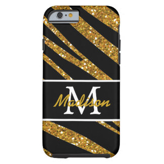 BOLD BLACK ZEBRA STRIPES NAME GOLD GLITTER TOUGH iPhone 6 CASE