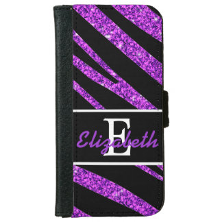 BOLD BLACK ZEBRA STRIPES NAME PURPLE GLITTER iPhone 6 WALLET CASE