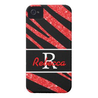 BOLD BLACK ZEBRA STRIPES NAME RED GLITTER Case-Mate iPhone 4 CASE