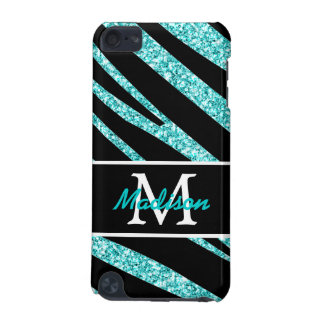 BOLD BLACK ZEBRA STRIPES NAME TEAL GLITTER iPod TOUCH (5TH GENERATION) CASES
