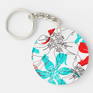 Bold Blossoms Double-Sided Round Acrylic Keychain