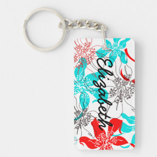 Bold Blossoms Double-Sided Rectangular Acrylic Keychain