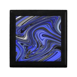 Bold Blue and Black Abstract Design Pattern Keepsake Box