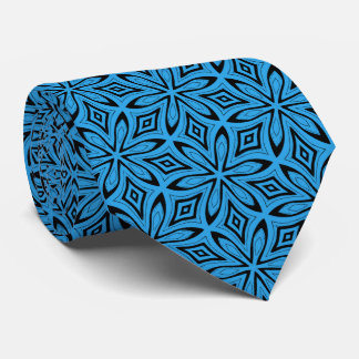 Bold Blue and Black Floral Abstract Necktie