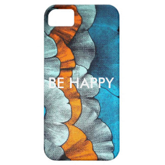 Bold blue and orange print phone case