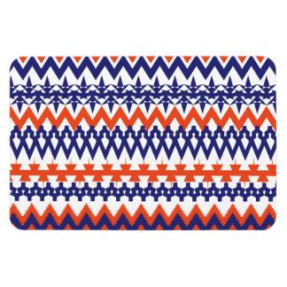 Bold Blue and Orange Tribal Chevron Pattern Rectangular Photo Magnet