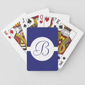 Bold Blue Circle Monogram Playing Cards