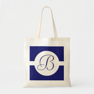 Bold Blue Circle Monogram Tote Bag