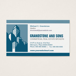 Bold Blue Commercial Real Estate Business Card