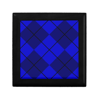 Bold Blue on Blue Argyle Small Square Gift Box