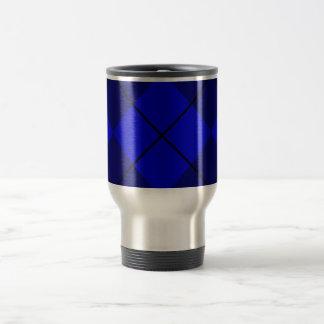 Bold Blue on Blue Argyle Stainless Steel Travel Mug