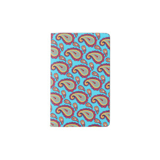 Bold Blue Paisley Pocket Moleskine Notebook