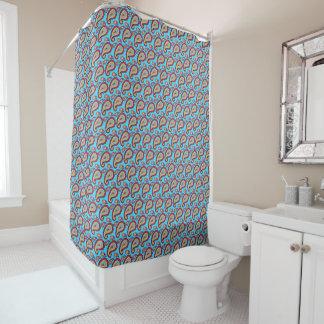 Bold Blue Paisley Shower Curtain