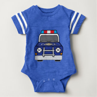 Bold Blue Police Patrol Car Baby Bodysuit