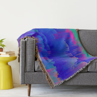 Bold Blue Purple Teal Pattern Abstract Throw Blanket