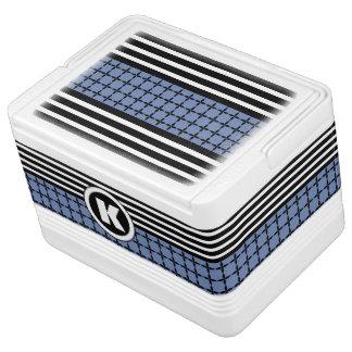 Bold Blue, White & Black w/Monogram Igloo Cooler