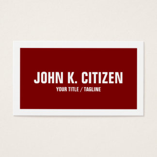 Bold Border Business Card - red and white