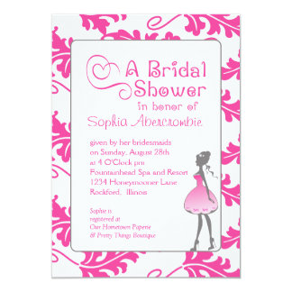 Bold Botanical Leaf Bridal Shower Raspberry Rose 13 Cm X 18 Cm Invitation Card