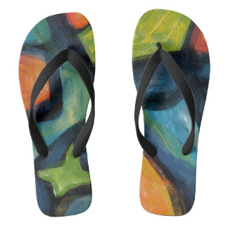 Bold Bright & Black Abstract Flip Flops