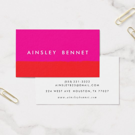 Bold Bright Colour Block Business Cards