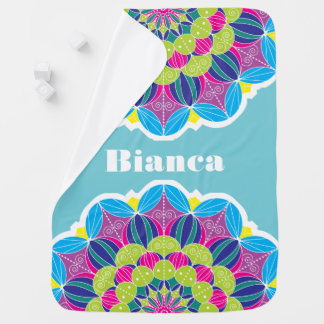 Bold Bright Funky Neon Floral Mandala Baby's Name Baby Blanket