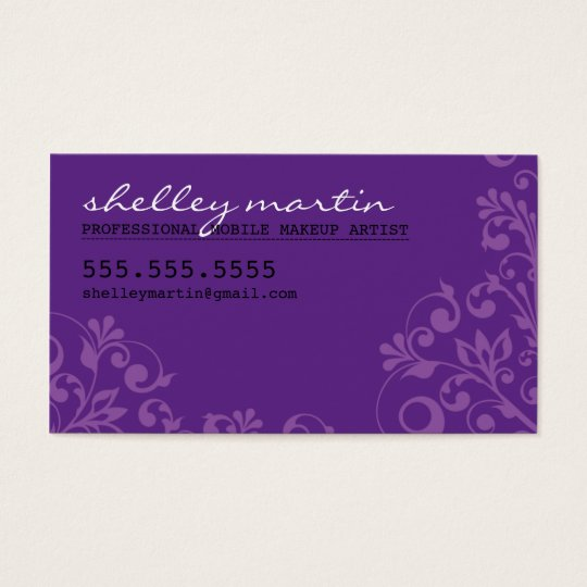BOLD bright organic swirl pattern violet purple Business Card