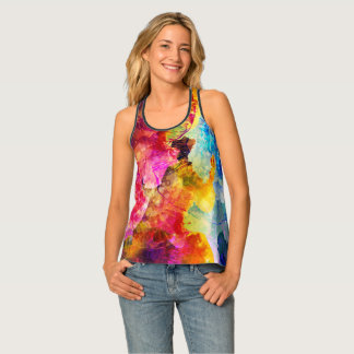 Bold & Bright Watercolor Floral Pattern Tank Top