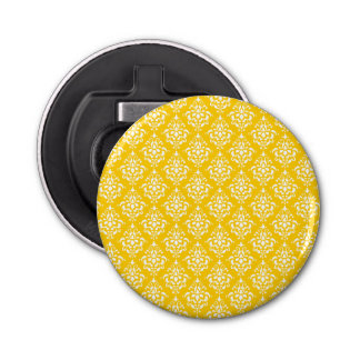 BOLD BRIGHT YELLOW VINTAGE DAMASK PATTERN 1 BOTTLE OPENER