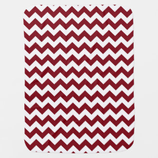 Bold Burgundy Wine & White Chevron Zig-Zag Pattern Baby Blanket
