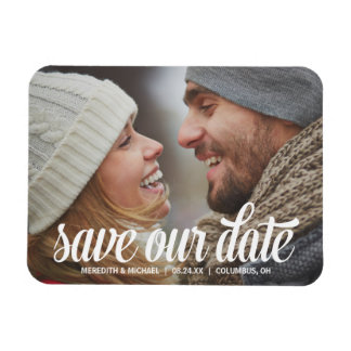 Bold Calligraphy | Photo Save the Date Rectangular Photo Magnet