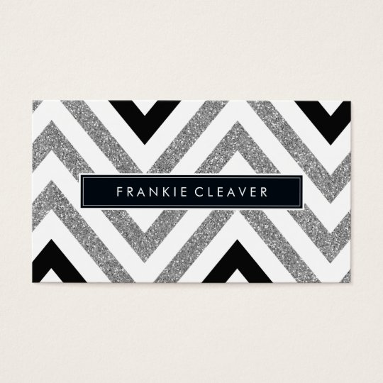 BOLD CHEVRON PATTERN trendy modern silver glitter Business