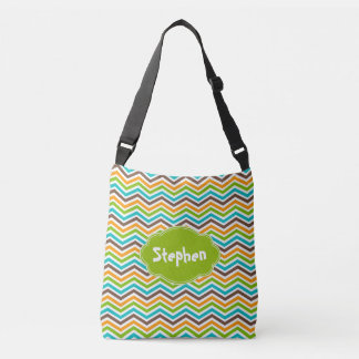 Bold Chevron Stripes Customized Add Name Bag Tote Bag