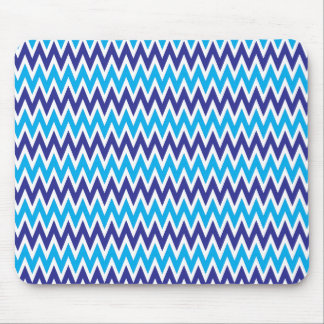 Bold Chevron Zigzags Teal Blue Striped Pattern Mouse Pad