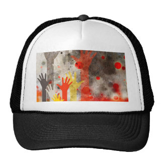 Bold & Chic Hands Red Watercolor Abstract Cap