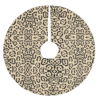 Bold Coffee Leopard Animal Cat Print Brown Brushed Polyester Tree Skirt