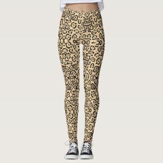 Bold Coffee Leopard Animal Cat Print Brown Leggings